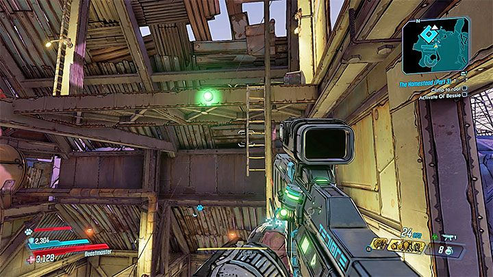 Eine Leiter fällt rechts von der Treppe ab (wie im Screenshot gezeigt) - springen Sie dorthin, um zu den oberen Balkonen zu gelangen - Pandora-return | Borderlands 3 Side Quest - Nebenmissionen - Borderlands 3 Guide