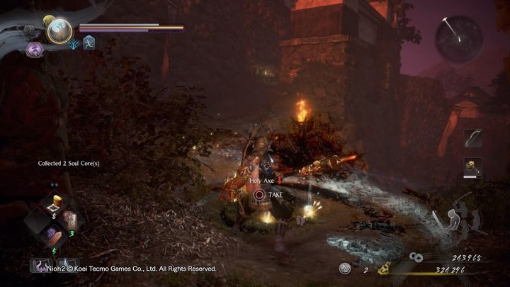 Sobald dies erledigt ist, gehe nach oben, drehe dich ein wenig nach rechts und gehe zurück - NiOh 2: Der Walkthrough zu High Spirited Demon - Hauptmissionen - NiOh 2 Guide