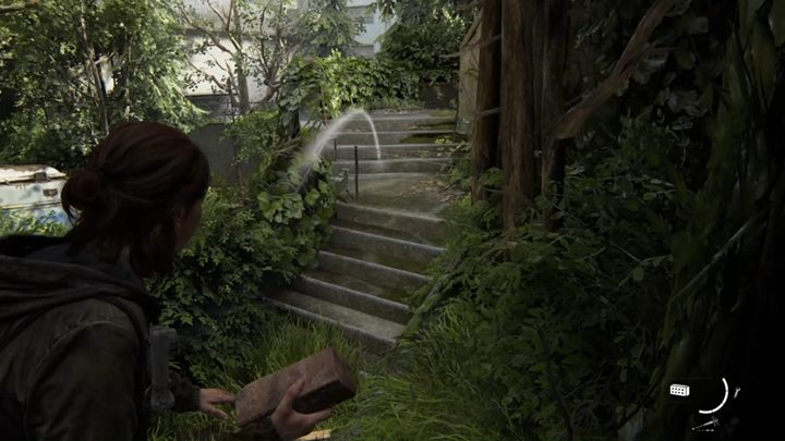 Klettern Sie auf den Sims neben der Treppe und zünden Sie mit einem Ziegelstein oder einer Flasche Minen auf der Treppe - The Last of Us 2: Capitol Hill, Kanal 13, Seattle Tag 1, Ellie Walkthrough - Seattle Tag 1 - Ellie - The Last of Us 2 Anleitung