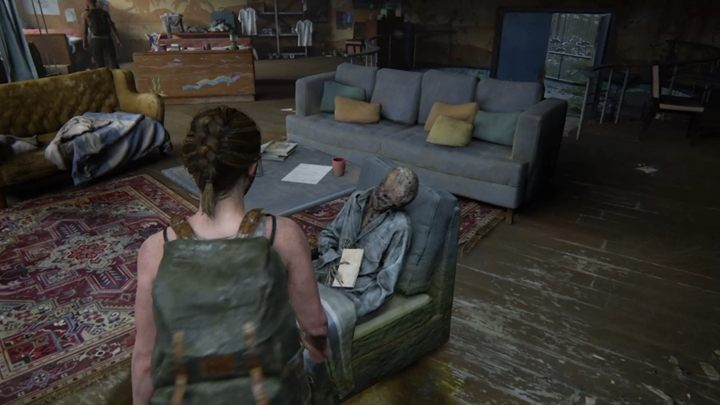Gehen Sie die Treppe hinauf und ziehen Sie eine Notiz aus der Hand des Skeletts - TLoU2: The Forward Base / Das Aquarium, Seattle Tag 1 Abby Walkthrough - Seattle Tag 1 - Abby - Der Letzte von uns 2 Leitfaden