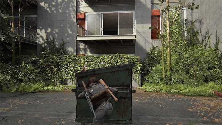 Auf der Rückseite des Motels befindet sich ein Wohnhaus. Sie müssen zum Balkon im ersten Stock gelangen - The Last of Us 2: Capitol Hill - Sammlerstücke, Artefakte, Münzen - Seattle Tag 1 - Ellie - The Last of Us 2 Guide