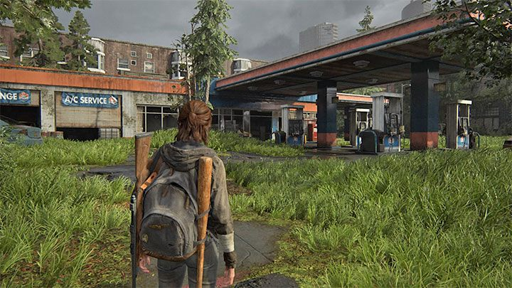 Folgen Sie dem Hauptweg in Capitol Hill, bis Sie die auf dem Bild gezeigte Tankstelle erreichen - The Last of Us 2: Capitol Hill - Sammlerstücke, Artefakte, Münzen - Seattle Tag 1 - Ellie - The Last of Us 2 Guide