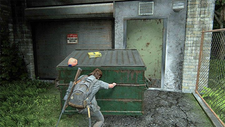 Der Eingang zur Werkstatt ist mit einem Container blockiert - im Inneren befindet sich eine Gruppe von Infizierten - The Last of Us 2: Hillcrest - Sammlerstücke, Artefakte, Münzen - Seattle Day 2 - Ellie - The Last of Us 2 Guide