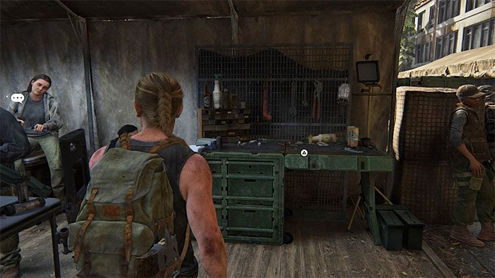 In einem der Zelte befindet sich eine Werkbank - The Last of Us 2: The Forward Base - Sammlerstücke, Artefakte, Münzen - Seattle Day 1 - Abby - The Last of Us 2 Guide