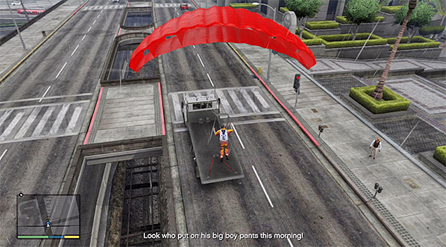 The mission proper is very short and it assumes landing on the flatbed of the truck shown in the screenshot, after jumping off the skyscrapers roof - Targeted Risk - Strangers and Freaks missions - GTA 5 Guide