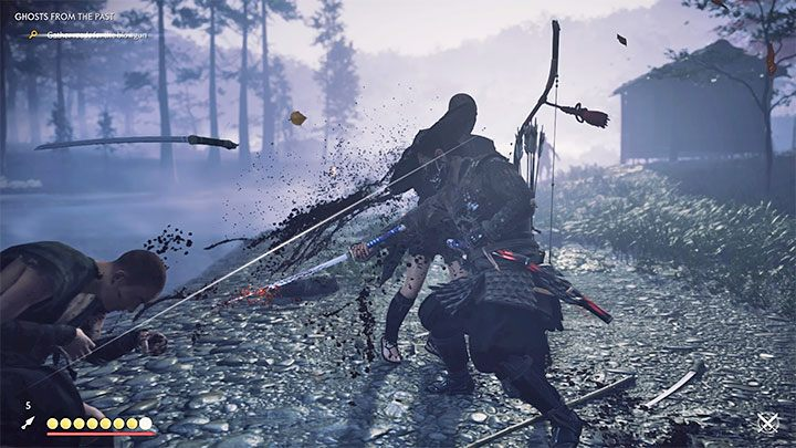 Sie können zum ersten Mal während des Prologs eine Pattsituation versuchen - Ghost of Tsushima: Samurai-Stil - Direktkampf - Grundlagen - Ghost of Tsushima Guide, Walkthrough