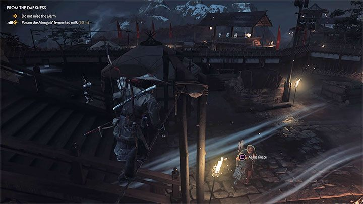 Klettern Sie am neuen Standort auf das Zelt und nutzen Sie eine weitere Gelegenheit, um über das Seil zu gehen - Ghost of Tsushima: Von der Dunkelheit Walkthrough, Video Guide - Akt 2 - Ghost of Tsushima Guide, Walkthrough
