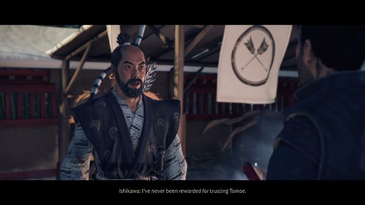 Gehen Sie zurück zum Tempel und sprechen Sie mit Ishikawa, um die Mission zu beenden - Ghost of Tsushima: Freunde beim Passieren des Walkthroughs, An Ishikawa Tale - An Ishikawa Tale - Ghost of Tsushima Guide, Walkthrough