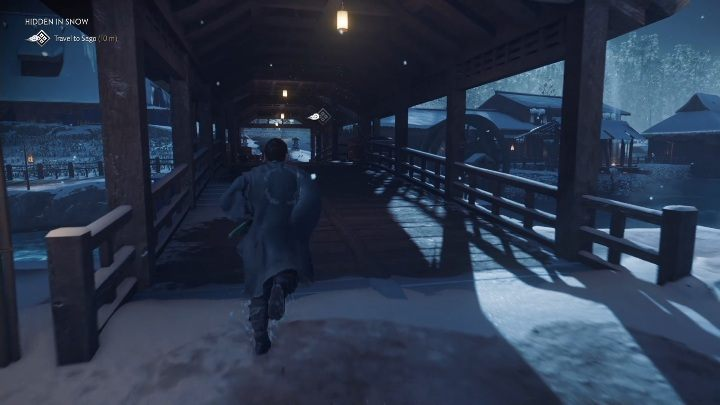 Deine erste Aufgabe ist es, zur Mühle in Sago zu gelangen und mit dem Questgeber zu sprechen - Ghost of Tsushima: Versteckt im Schnee Walkthrough, Tales of Tsushima - Andere Geschichten - Ghost of Tsushima Guide, Walkthrough