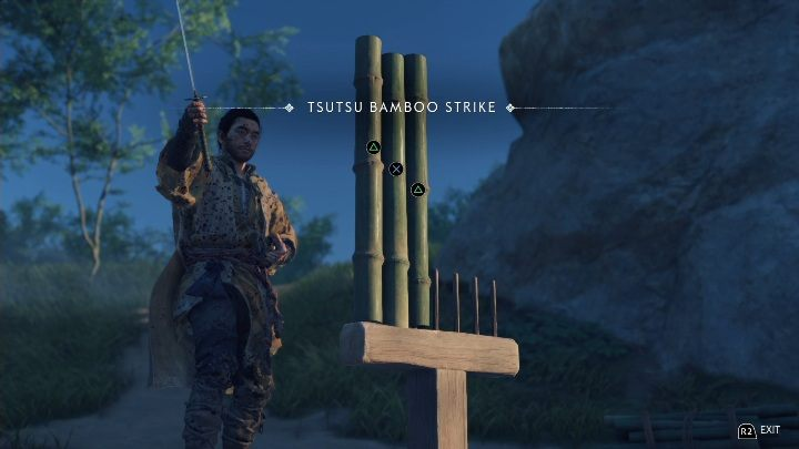 Sie werden diesen Bambusstreik in der Nähe des Flussufers finden - Ghost of Tsushima: Bambusstreik, Izuhara Region Geheimnisse Karte, Video Guide - Izuhara Region - Ghost of Tsushima Guide, Walkthrough