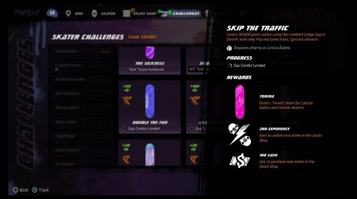 Each character available in the game has its own challenges - Tony Hawks Pro Skater 1+2: Leticia Bufoni guide, skills - New skaters - Tony Hawks Pro Skater 1+2 Guide