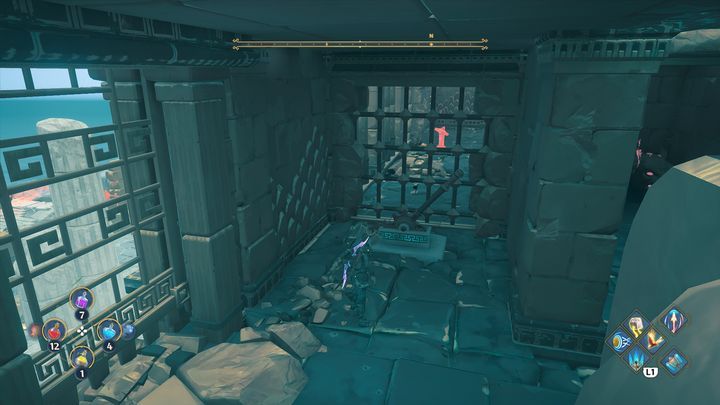 The second switch is located inside the building on the right - Immortals Fenyx Rising: Chests (Grove of Kleos) - map - Grove of Kleos - Immortals Fenyx Rising Guide