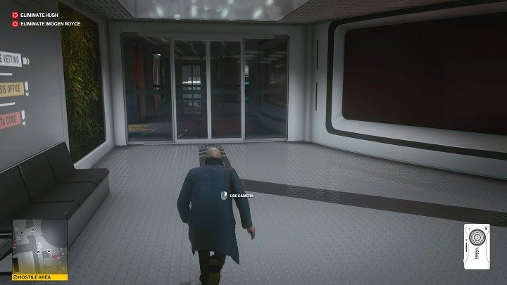 Go through the hallway - watch out for the camera on the left - Hitman 3: Imogen Royce - how to kill her? Chongqing, China, walkthrough guide - End Of An Era - Chongqing - Hitman 3 Guide