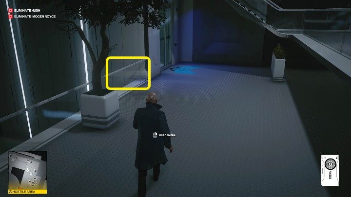 Once inside the facility, go down the stairs, turn right and jump across at about the point marked in the image above - Hitman 3: Imogen Royce - how to kill her? Chongqing, China, walkthrough guide - End Of An Era - Chongqing - Hitman 3 Guide