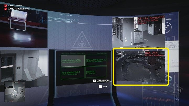 Approach the computer and observe the view from the fourth camera that was installed in the Data Core room - Hitman 3: Imogen Royce - how to kill her? Chongqing, China, walkthrough guide - End Of An Era - Chongqing - Hitman 3 Guide