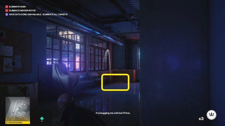 The next actions need to be properly synchronized because there are two guards standing at the entrance to the stairwell - Hitman 3: Imogen Royce - how to kill her? Chongqing, China, walkthrough guide - End Of An Era - Chongqing - Hitman 3 Guide