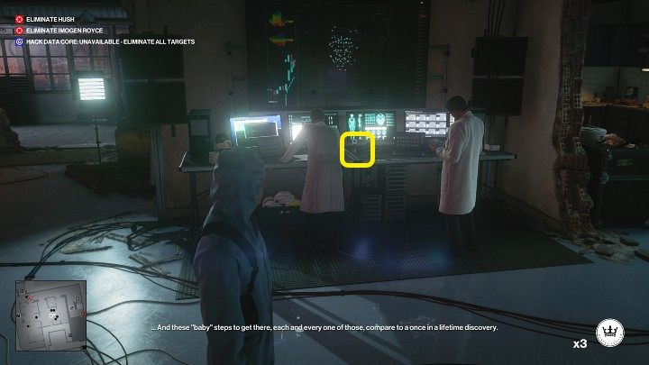 The Lethal Poison Pill Jar lies on the desk to the left - Hitman 3: Imogen Royce - how to kill her? Chongqing, China, walkthrough guide - End Of An Era - Chongqing - Hitman 3 Guide