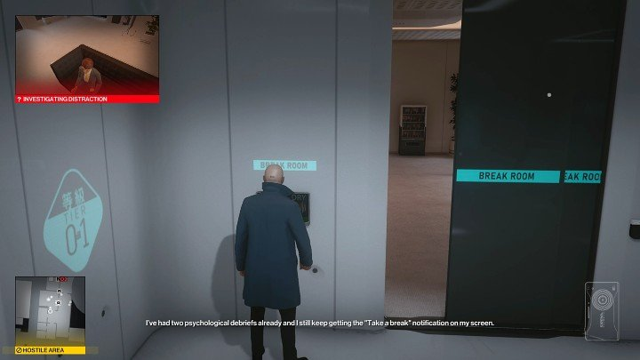 Now approach the control panel on the left and activate it to get the attention of one of the people inside - Hitman 3: Imogen Royce - how to kill her? Chongqing, China, walkthrough guide - End Of An Era - Chongqing - Hitman 3 Guide