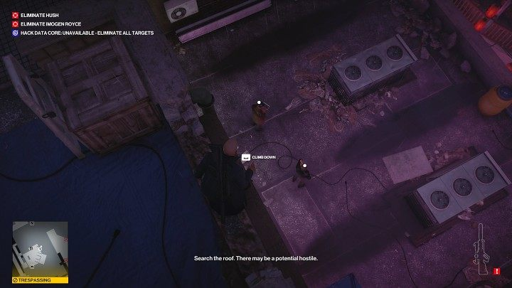 Once you've shot down 5 drones, wait for two more devices to appear over Hush's building - Hitman 3: Imogen Royce - how to kill her? Chongqing, China, walkthrough guide - End Of An Era - Chongqing - Hitman 3 Guide