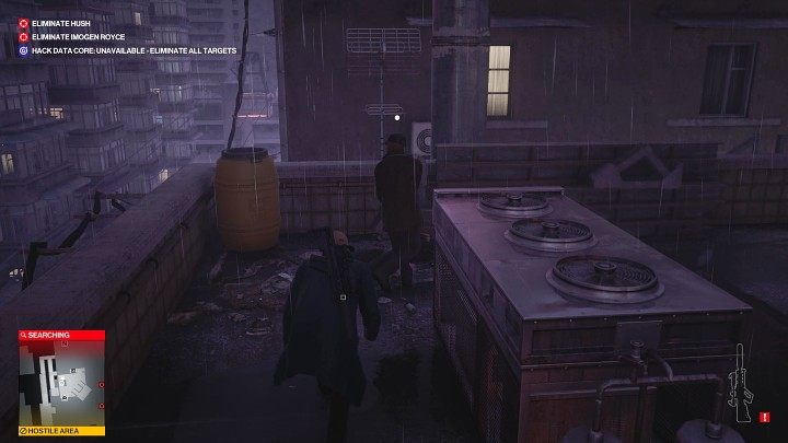 When the second man comes down to the roof, tackle him from behind and incapacitate him - Hitman 3: Imogen Royce - how to kill her? Chongqing, China, walkthrough guide - End Of An Era - Chongqing - Hitman 3 Guide