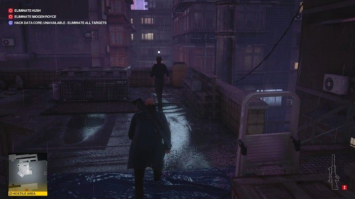 Right after him, a second guard will step onto the roof - Hitman 3: Imogen Royce - how to kill her? Chongqing, China, walkthrough guide - End Of An Era - Chongqing - Hitman 3 Guide