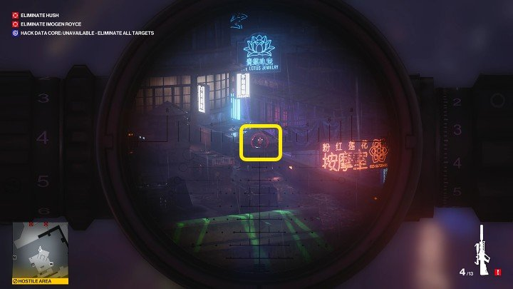 Take up a shooting position and shoot down the last two drones that are hovering above the building on the left - Hitman 3: Imogen Royce - how to kill her? Chongqing, China, walkthrough guide - End Of An Era - Chongqing - Hitman 3 Guide
