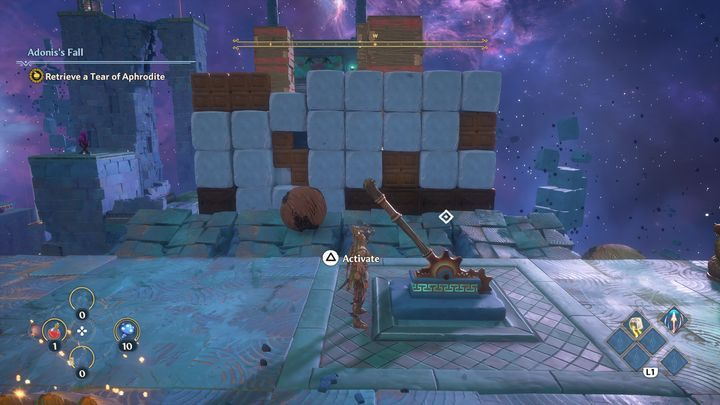 Once again, destroy another wall by using spheres - Immortals Fenyx Rising: A Crying Shame - walkthrough - Aphrodites quests - Immortals Fenyx Rising Guide