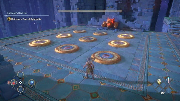 This is how it should look, start from the left side, and avoid stepping onto other switches than those shown on the wall - Immortals Fenyx Rising: A Crying Shame - walkthrough - Aphrodites quests - Immortals Fenyx Rising Guide