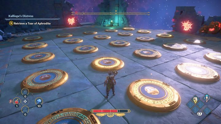 Then on the right side, you need to activate the second pressure plate in that row - Immortals Fenyx Rising: A Crying Shame - walkthrough - Aphrodites quests - Immortals Fenyx Rising Guide