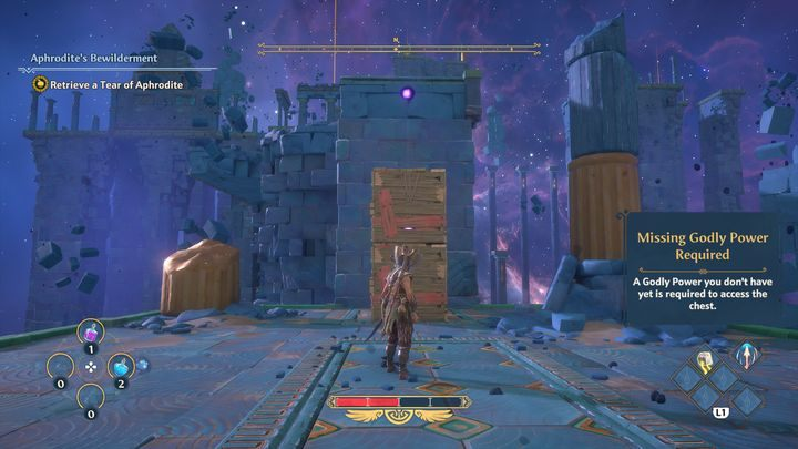 Once inside the Vault itself, activate a button and jump onto some wooden boxes using a double jump - Immortals Fenyx Rising: A Crying Shame - walkthrough - Aphrodites quests - Immortals Fenyx Rising Guide