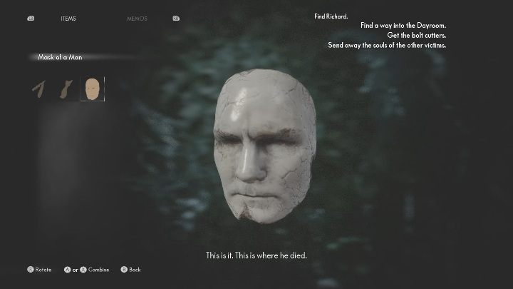 When you turn right, you will see the man's mask - The Medium: On the other side of the mirror - walkthrough - Walkthrough - The Medium Guide