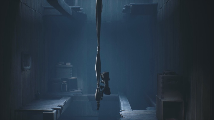 When the teacher disappears from your sight, jump on the wrapped bedding and quickly climb up to the floor above - Little Nightmares 2: School - guide, walkthrough description - Chapter 2 - Orphanage - Little Nightmares 2 Guide