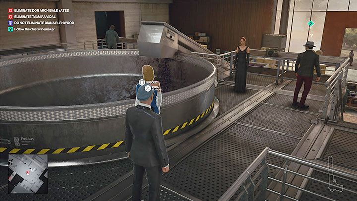 As the tour advances, you will reach the fermentation room (point 25 on the map) where you will be able to ask Vargas (the tour guide) about the surrounding machinery - Hitman 3: How to unlock the Ripe for the Picking trophy/achievement? - Trophy Guide - Hitman 3 Guide