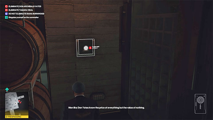Carefully approach the wine fridge room (point 29 on the map) and climb in when it's safe - Hitman 3: How to unlock the Ripe for the Picking trophy/achievement? - Trophy Guide - Hitman 3 Guide