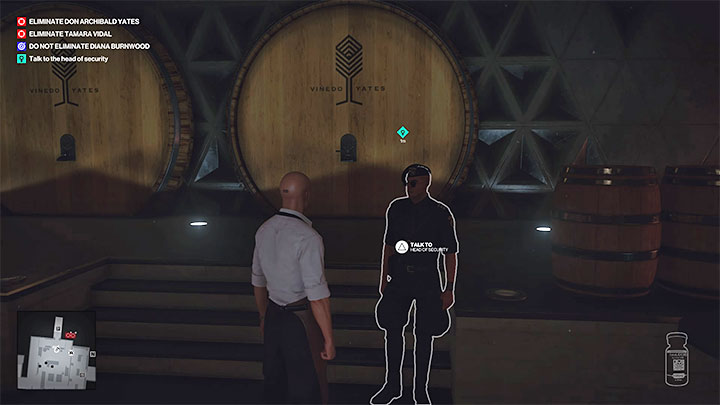 If you don't want to be recorded by the cameras, don't go to the barrel room by opening the refrigerator door, but by going through the ventilation tunnels - Hitman 3: How to unlock the Ripe for the Picking trophy/achievement? - Trophy Guide - Hitman 3 Guide