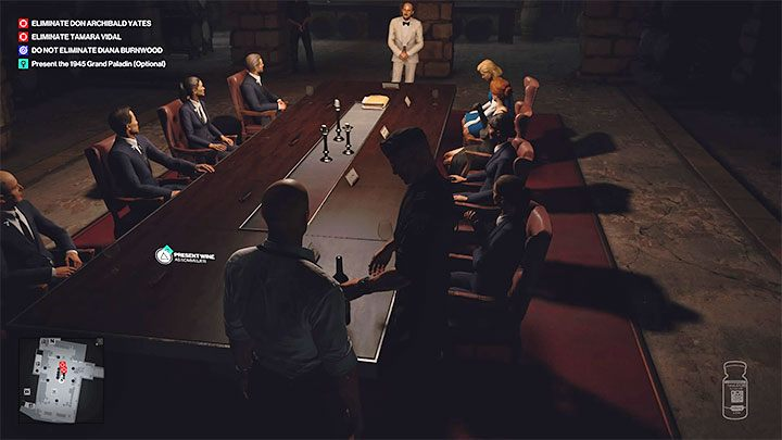 Place the wine on the table - it will automatically be picked up by the head of security, who will start pouring it among the meeting attendees - Hitman 3: How to unlock the Ripe for the Picking trophy/achievement? - Trophy Guide - Hitman 3 Guide
