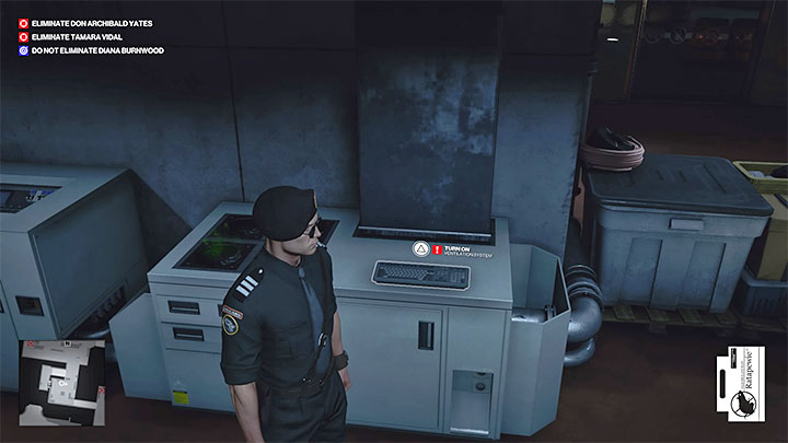 While the tour is underway, return to the Tech Room (point 27 on the map) and this time interact with the keyboard to the right of the ventilation system machine - Hitman 3: How to unlock the Ripe for the Picking trophy/achievement? - Trophy Guide - Hitman 3 Guide