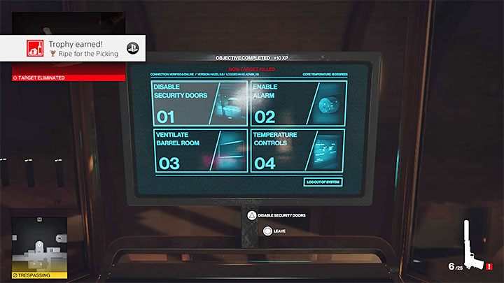 Wait until the tour participants reach the barrel room (point 29 on the map) and until Don Yates shows up too - Hitman 3: How to unlock the Ripe for the Picking trophy/achievement? - Trophy Guide - Hitman 3 Guide
