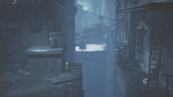 Then you must grab the lever and move the hanger closer to Six, so she can grab onto it - Little Nightmares 2: Crossing the city - a guide, walkthrough - Chapter 4 - Getting to the Tower - Little Nightmares 2 Guide